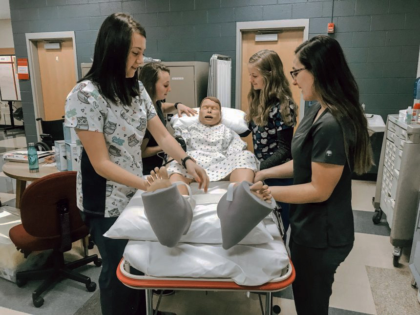 Students in the Health Occupations Technology program at the Clearfield County Career & Technology Center (CCCTC) are learning about the endocrine system. L to R CCCTC Health Occupations Technology students Carleigh Dixon, Zoe McGonigal, Madyson Carper and Kara Coval.