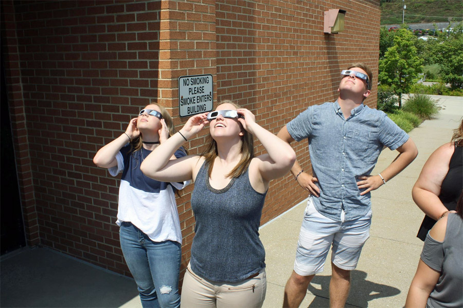 Students, faculty, and staff from Penn State DuBois took in the partial solar eclipse over DuBois yesterday.
