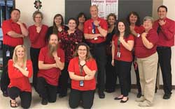 "Jeff Tech staff participated in ""Twinning Tangren Tuesday"" as part of the spirit week celebration of National Career and Technical Education month. Pictured: Bill Tangren, Jeff Tech SRO and staff."