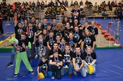 DuBois Area High School students raise their flag in celebration after winning first place in the Penn State DuBois BEST Robotics Competition on Saturday. (CLICK ON LINK BELOW PHOTO TO READ FULL STORY)