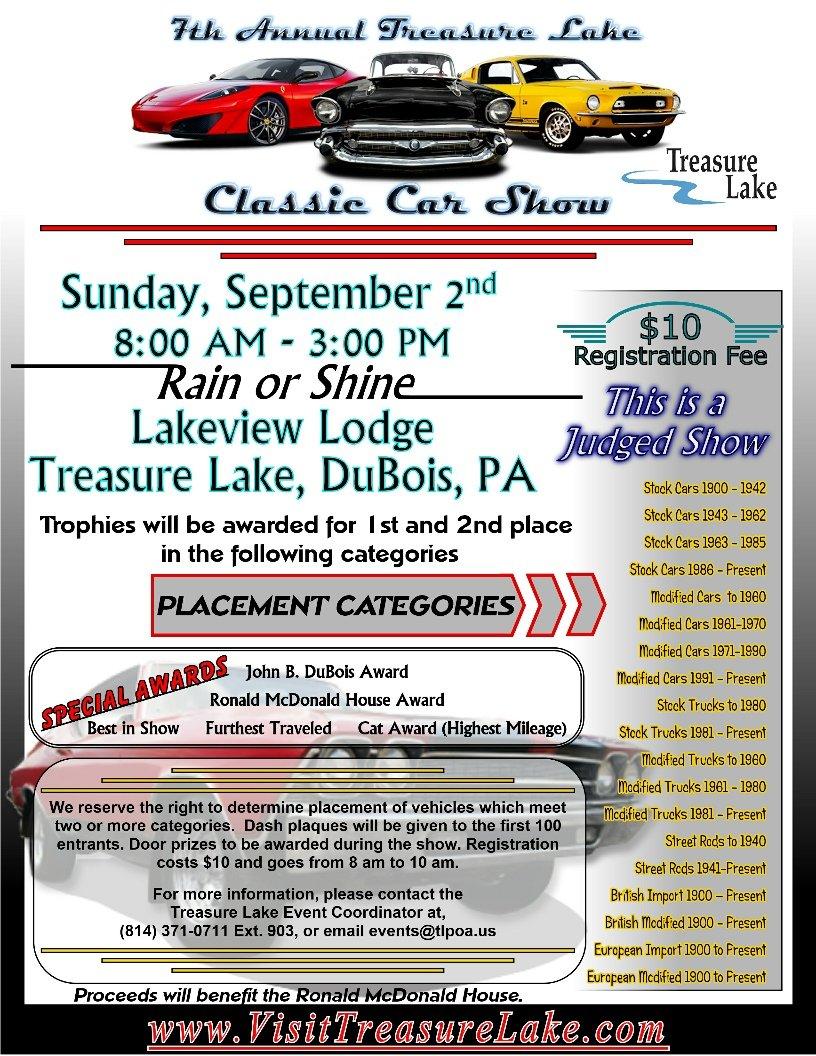 Th Annual Treasure Lake Classic Car Show Benefits - Car show categories