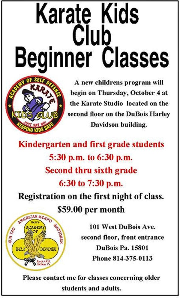 NEW Karate Kids Club Beginner Classes starting Oct. 4th!