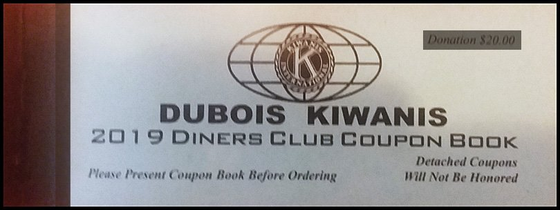 DuBois Kiwanis 2019 Diner's Club Coupon Book!