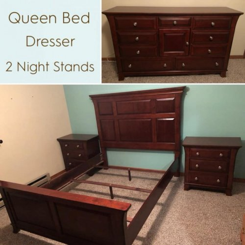 4pc Queen Suite Bed Dresser Night Stands Furniture Inside