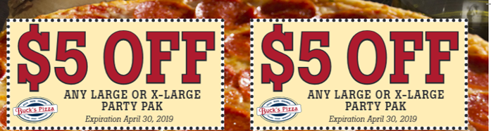 $5 OFF ANY LARGE OR X-LARGE PARTY PAK (expires 4/30/19)